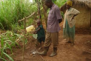 Family with their handwashing station
