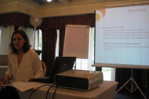 Lenka Benova presenting on the links between WASH in health centres and maternal health