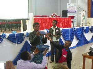 Demonstrating the menstrual hygiene pads
