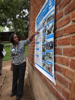 Mary Namwebe from Plan Uganda presents project progress